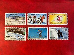 ANGUILLA 1980 MNH OLYMPICS ICE HOCKEY FIGURE SKATING BOBSLED SKIING LUGE SPORTS