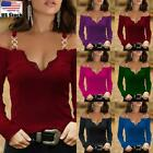 Womens Cold Shoulder T-shirt Tops Ladies Long Sleeve V Neck Slim Fit Blouse Tee