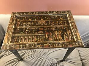 Egyptian revival inlaid occasional table 1979