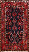 Excellent Vintage Navy Blue Red Nahavand Geometric Hand-Knotted Area Rug 3'x6'