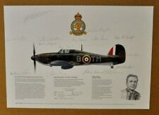 Limited print HAWKER HURRICANE Mk 1 aigned by Holmes & 13 other Pilots  RARE