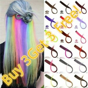 BUY 3 GET 3 FREE Two Tone Rainbow Clip In Highlight Festival Hair Extensions UK