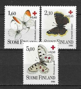 Finland 1986 Insects Butterfly Schmetterlinge Papillons Red Cross compl. set MNH