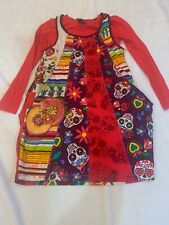 Size 7-8 Desigual Casual Dress Layered Look Multi-Color Folk art Sugar Skulls