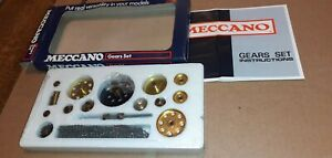 *UNUSED/SEALED BOX* MECCANO GEARS SET(COMPLETE & INSTRUCTIONS) BRIGHT SHINY GEAR