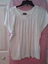 GEORGE Women's Short Sleeve Off White Pleated Boat Neck Knit Top, Size L