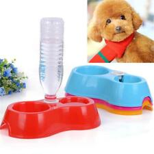 Dog Feeder Food Bowl Pet Cat Double Dishes Plastic Automatic Water Drinking New