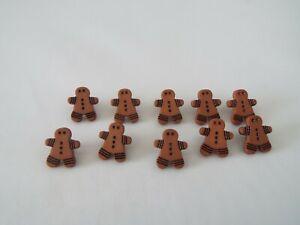 10 X Lindo Bebé pan de jengibre Hombre Marrón Hombres Novedad botones de vástago de plástico K22