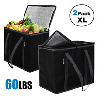 ATS Homz 2 Pack XL Insulated Grocery Bag: Eco Friendly Heavy Duty Foldable Tote