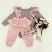 Newborn Infant Baby Girl Floral Outfit Clothes Romper Tops+Pants+Headband Set