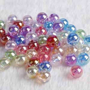 6mm 8mm 10mm Rainbow Candy AB Color Round Acrylic Beads Loose Spacer Beads