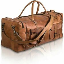 "30"" Men's Genuine Leather luggage gym weekend overnight duffel large vintage bag"