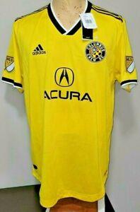 Columbus Crew Mens MLS Soccer Jersey Yellow Black XL Adidas ClimaCool NEW NWT