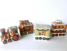 Vintage 4 Pc. Handcrafted Ceramic Train Set Ornament Christmas Decoration Kitsch
