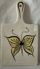 Vintage Hand Painted California Ceramic Trivet Plate Butterfly Design