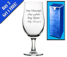 Personalised Engraved Pint Glass Stemmed Beer Glass Birthday Wedding Gift