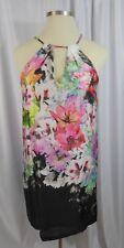 Beige By ECI Woman's Large L Black Tropical Print Keyhole Halter Dress Sz 12/14