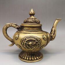 "7"" Chinese antique brass dragon statue Hand holding Teapot Tea Set"