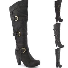 B28 Western Cowgirl Looks High Heel Platform Mid-Calf Knee High Boots Size 5.5