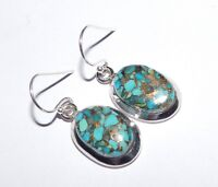 5.5Gm 925 Solid Sterling Silver Earring Copper Turquoise Earrings Gemstone i2501