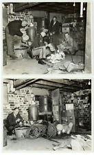 VINTAGE CRIME FBI COVERT OPERATIONS: Set of Four Bootleggers Police Raid Photos