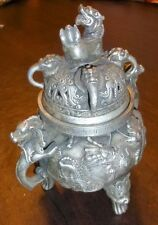 Chinese Dragon Pewter Footed Incense Jar With Lid Foo Dog Design