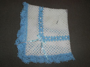 🐳 WHITE, BLUE & SILVER 40 INCHES HANDMADE CROCHET  BABY  BLANKET SHAWL