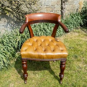 C19th Mahogany & Leather Upholstered Captains Desk Armchair (Victorian)