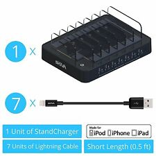 Skiva 7 Port Fastest Charging Station + 7x Short USB to Lightning Cables - AC123