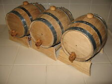 OAK BARRELS (THREE) 3 LITER FOR WHISKEY OR SPIRITS