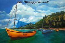 """Best  Gift !!'"""" Waiting for the Winds """" Oil Painting 18"""" x 12"""". Reduce Price"""
