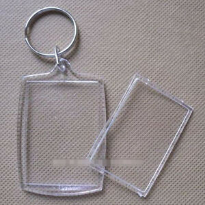 100Pcs Transparent Blank Insert Photo Picture Frame Keyring Split Ring keychain