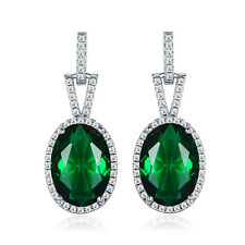 HUCHE Silver Gold Filled Oval Emerald Green Sapphire Lady Banquet Daily Earrings