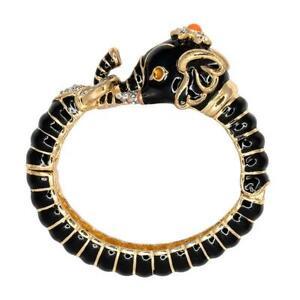 Kenneth Jay Lane Jewelry Elephant Black Enamel Animal Bangle Bracelet  NEW!