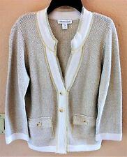 Coldwater Creek Natural Cardigan Sweater Blazer Twinkle Texture Raw Edge Trim S