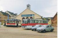 Postkarte: Wartburg 353, Ikarus 260.02 und historische Straßenbahn, Chemnitz