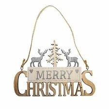Merry Christmas Wooden Hanging Sign with Reindeer and Tree - Silver