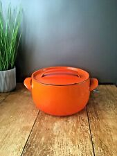 VINTAGE 60'S BRIGHT ORANGE CASSEROLE ROASTING OVEN DISH PAN LE CREUSET INTEREST