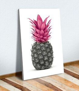 PINEAPPLE BLACK AND WHITE PINK  -  CANVAS WALL ART PRINT ARTWORK LUCK FORTUNE