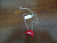 NWT Sterling Silver Necklace Red Rhinestones MSRP $250.00