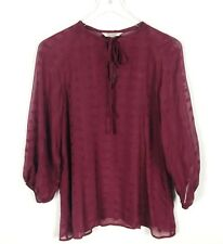 Tucker | Women's Medium Top Silk Sheer Red Tie-Front Blouse EUC