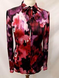 Liu Jo Floral Silk Blouse - Size 8 - Pink Mix - Long Sleeve - 100% Silk
