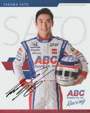 2016 Takuma Sato signed ABC Supply Honda Dallara Indy Car postcard