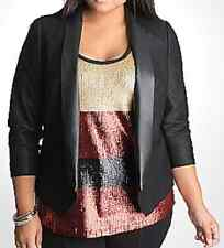 Lane Bryant DKNY lovely black shimmer Tuxedo jacket size 22/24 fx leather lapels