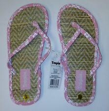 Women's Cute Flip Flops - Pink / Blue - Coconut Straw Hibiscus Sandals-Brand New
