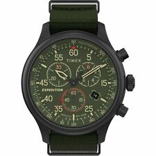 Timex TW2T72800, Field Expedition Chronograph Green Nylon Watch, Indiglo, Date