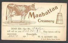 DATED 1898 PC BOSTON MA MANHATTAN CREAMERY SALESMANS CALLING CARD SEE INFO