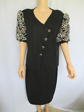 TOULA Skirt Suit Black Size 12 Knit With Gold Open Weave Puffy Sleeves