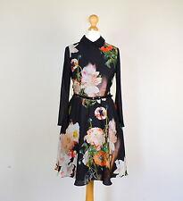 Ted Baker Hemd Kleid ISE Opulente Blüte schwarz Blumenmuster Kragen Gürtel Größe 0 UK 6-8