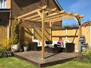 3m wide x 3.6m deep x 2.4m timber wooden garden gazebo pergola kit